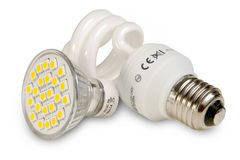 Sorgenti luminose efficienti su bianco fotografie stock