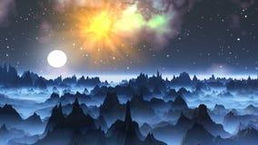 Sorgere della luna su un pianeta nebbioso illustrazione di stock