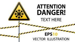 Sorgfältig kalt Warnzeichensicherheit Säule mit Zeichen und warnenden Bändern Photorealistic Ausschnittskizze vektor abbildung
