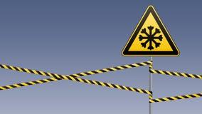Sorgfältig kalt Warnzeichensicherheit Säule mit Zeichen und warnenden Bändern Photorealistic Ausschnittskizze lizenzfreie abbildung