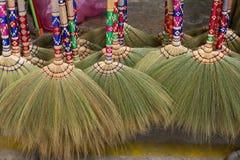 Sorghum brooms. Set of new sorghum brooms Stock Images