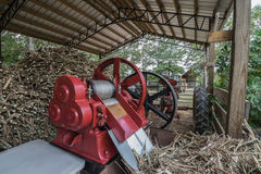 Sorghum Cane Mill. This is the third stage of the molasses making process. The cane is fed through the red sorghum mill.  The mill is powered by a tractor with Royalty Free Stock Photo