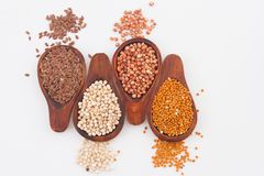 Sorghum, millet and flaxseed in spoon.  stock image