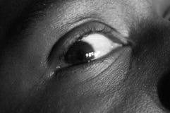 sorgsenhet för bw-uttrycksöga Arkivfoton