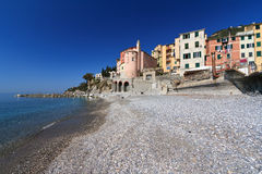 Sori from the beach, Italy. View from the seaside in Sori, small village in Liguria, Italy Stock Photo