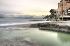Sori (Genoa) panorama. Color image. Winter panorama of the coastline of Ligurian Sea from the fishermen village of Sori (Northern Italy Mediterranean shoreline Royalty Free Stock Photo