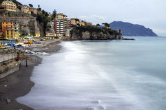 Sori (Genoa) panorama. Color image. Winter panorama of the coastline of Ligurian Sea from the fishermen village of Sori (Northern Italy Mediterranean shoreline royalty free stock photos