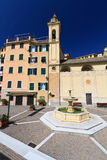 Sori, square with fountain. Amazing small square with fountain in Sori, Liguria, Italy Royalty Free Stock Photos