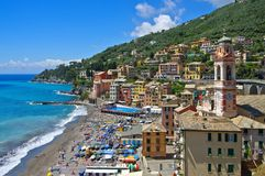 Sori. The town and beach Sori in Italy, Liguria Stock Image