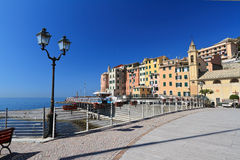 Sori waterfront, Italy. Beautiful promenade in Sori, small village in Liguria, Italy Royalty Free Stock Image