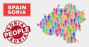 Soria Province Map Population Demographics e selo sujo ilustração royalty free