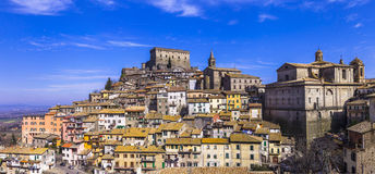 Soriano nel cimino - authentic town in Lazio, Italy. Soriano nel cimino , view with castello Orsini -  medieval town in Lazio, Italy Royalty Free Stock Images
