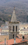 Soriano nel Cimino bell tower. Soriano nel Cimino ancient town Viterbo, Lazio, central Italy royalty free stock photo