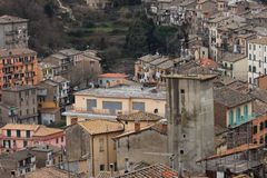 Soriano nel Cimino overview. Soriano nel Cimino ancient town overview Viterbo, Lazio, central Italy stock photos