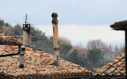 Soriano nel Cimino roofs. Soriano nel Cimino ancient town roof detail in Viterbo, Lazio, central Italy royalty free stock image