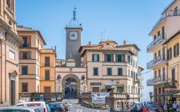 Soriano nel Cimino in a summer morning, province of Viterbo, Lazio, central Italy. Soriano nel Cimino is a town and comune in the province of Viterbo, Lazio Stock Image