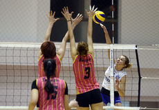Sorina Adriana Buz. Women volleyball players pictured in action during the Romanian Women Volleyball A1 Division game between CSM Bucharest and CSM Universitatea stock images