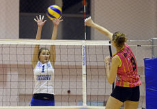 Sorina Adriana Buz. Women volleyball players pictured in action during the Romanian Women Volleyball A1 Division game between CSM Bucharest and CSM Universitatea stock photography