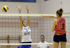 Sorina Adriana Buz. Women volleyball players pictured in action during the Romanian Women Volleyball A1 Division game between CSM Bucharest and CSM Universitatea royalty free stock photography