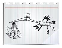 Sork disegnato a mano con il bambino Fotografia Stock