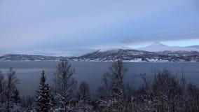 Sorkjosleira Fjord, Troms, Norway. The Sorkjosleira Fjord near Markenes in the region Troms in Norway in winter stock video footage