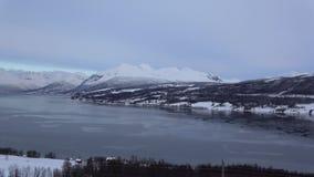 Sorkjosleira Fjord, Troms, Norway. The Sorkjosleira Fjord near Markenes in the region Troms in Norway in winter stock video