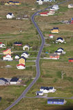 Sorland. Aerial view of scenic town Sorland on island Vaeroy, Lofoten islands, Norway Royalty Free Stock Images