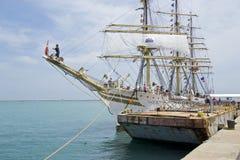 Sorlander Masted triple en el embarcadero de la marina de guerra Fotografía de archivo libre de regalías