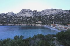 Sormiou bay. Wonderful mediterranean sea colour at Sormiou bay in the Calanques near Marseille in South France stock photography