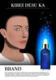 Soro da cara e do azul da senhora com luz de incandescência, anúncio cosmético imagem de stock