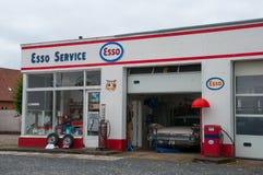 Old restored vintage Esso petrol station. Soro Denmark - September 16. 2017: Old restored vintage Esso petrol station Stock Photos