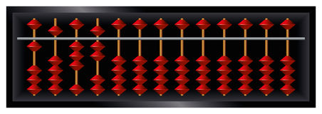 Soroban Japanese abacus. Counting frame and calculating tool with red beads sliding on wires. Derived from ancient Chinese suanpan. It is still used today Stock Images