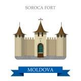 Soroca Fort in Moldova Europe flat vector attraction landmark stock illustration