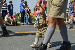 Sorocaba, Sao Paulo, seven september two thousand and fourteen. Small girl conducted by the hand in the independence of the parade brazil stock image