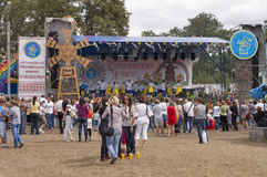 Sorochinskaya Fair- festival. 18/08/2012. Ukraine. Sorochinskaya Fair- festival. People watch stage performance.Editorial use Stock Photos
