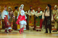 Sorochintsy Fair. DNIPROPETROVSK, UKRAINE – MARCH  4, 2016: Ukranian musical Sorochintsy Fair performed by members of the Dnipropetrovsk State Opera and Ballet Royalty Free Stock Image