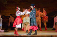 Sorochintsy Fair. DNIPROPETROVSK, UKRAINE – MARCH  4, 2016: Ukranian musical Sorochintsy Fair performed by members of the Dnipropetrovsk State Opera and Ballet Stock Photos