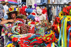 Sorochintsy Fair in Velyki Sorochyntsi, Ukraine. Velyki Sorochyntsi -August 20, 2016: Ukrainian souvenirs during Sorochintsy Fair in Velyki Sorochyntsi, Ukraine Stock Photos