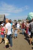 Sorochintsy Fair in Velyki Sorochyntsi, Ukraine. Velyki Sorochyntsi -August 20, 2016: Unidentified people walking on the Sorochintsy Fair in Velyki Sorochyntsi Royalty Free Stock Images