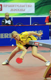 SOROCHYNSKA Tetyana (UKR). First Round of the Group C Women's Team of the LIEBHERR 2010 World Team Table Tennis Championships,Olympiysky Sports Complex, Moscow Stock Photos
