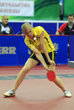 SOROCHYNSKA Tetyana (UKR). First Round of the Group C Women's Team of the LIEBHERR 2010 World Team Table Tennis Championships,Olympiysky Sports Complex, Moscow Royalty Free Stock Image