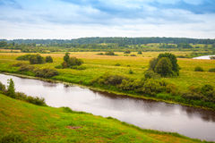 Sorot river in summer day, rural Russian landscape Royalty Free Stock Images