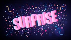 Sorprenda las letras festivas traslapadas con confeti redondo colorido stock de ilustración