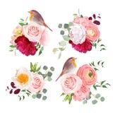 Sorprenda los ramos y los objetos lindos del diseño del vector de los pájaros del petirrojo ilustración del vector