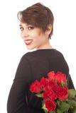 Sorpresa con una rosa foto de archivo libre de regalías