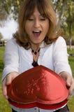 Sorpresa de la tarjeta del día de San Valentín Fotos de archivo libres de regalías
