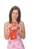 Sorpresa de la tarjeta del día de San Valentín foto de archivo