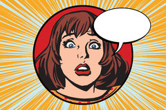 Sorpresa de las emociones de la muchacha de la cara ilustración del vector