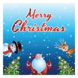 Sorpresa de Papá Noel, del muñeco de nieve y de los ciervos todo el mundo en el festival de Navidad, carro ilustración del vector