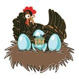 Sorpresa del pollo Gallina en jerarquía con los huevos Ejemplo original divertido con una amplia gama de usos Imagen de archivo
